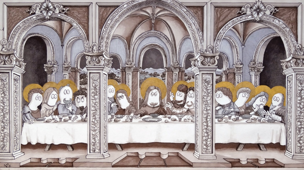 The Norm Last Supper (2014 © Nicholas de Lacy-Brown, pen, ink and gold paint on paper)