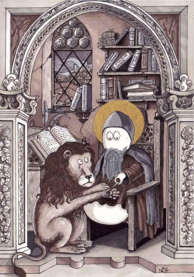 Saint Jerome Norm (2014 © Nicholas de Lacy-Brown, pen, ink and gold paint on paper)