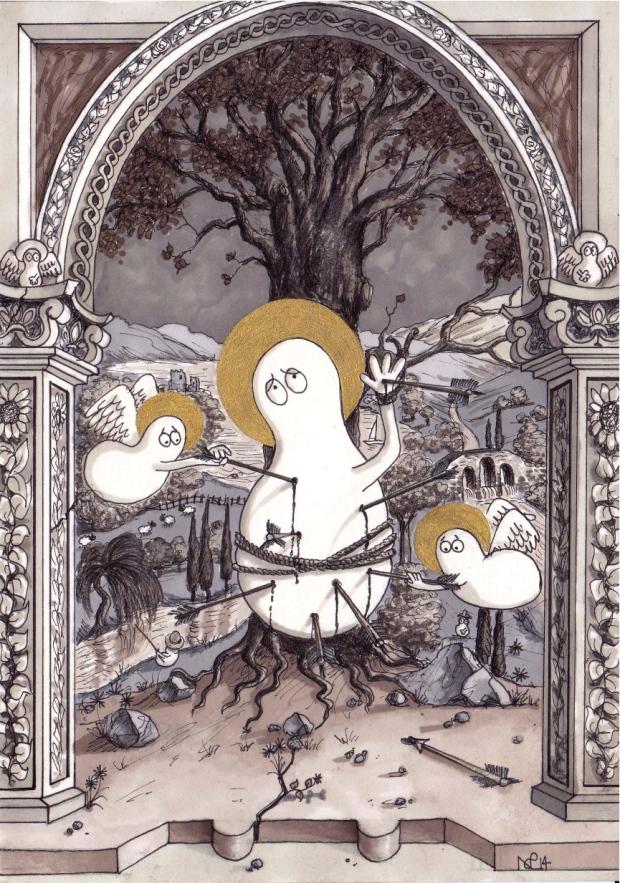 Saint Sebastian Norm (2014 © Nicholas de Lacy-Brown, pen, ink and gold paint on paper)