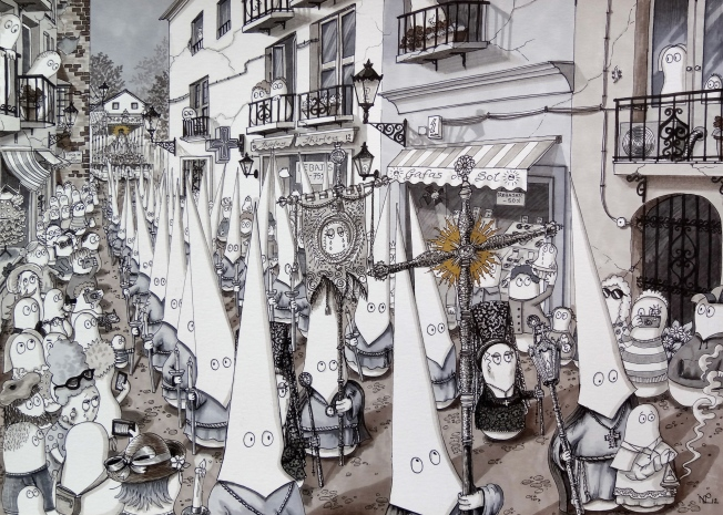 Semana Santa - Norms attend a procession - the 2014 revamp (© Nicholas de Lacy-Brown, pen and ink on paper)