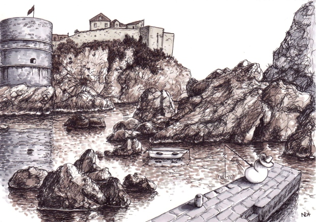 Fishernorm in the Brsalje Harbour, Dubrovnik (2014 © Nicholas de Lacy-Brown, pen and ink on paper)