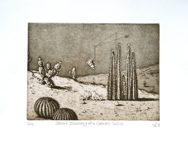 Desert Discovery of a Catalan Cactus (2014 © Nicholas de Lacy-Brown, etching and aquatint)