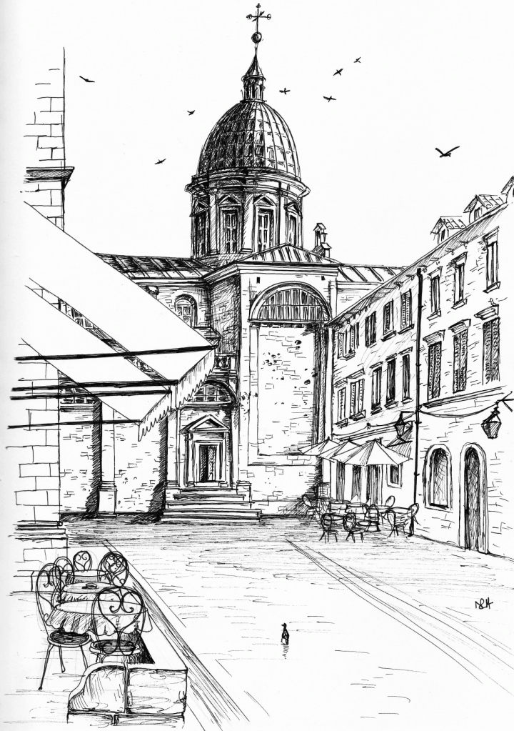 View of Dubrovnik Cathedral from the terrace of the Gradska Kavana Café (2014 © Nicholas de Lacy-Brown, pen on paper)