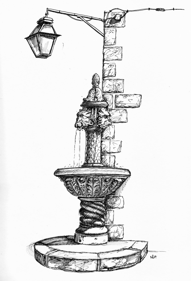 The Amerling Fountain on the Gunduliceva Square, Dubrovnik (2014 © Nicholas de Lacy-Brown, pen on paper)