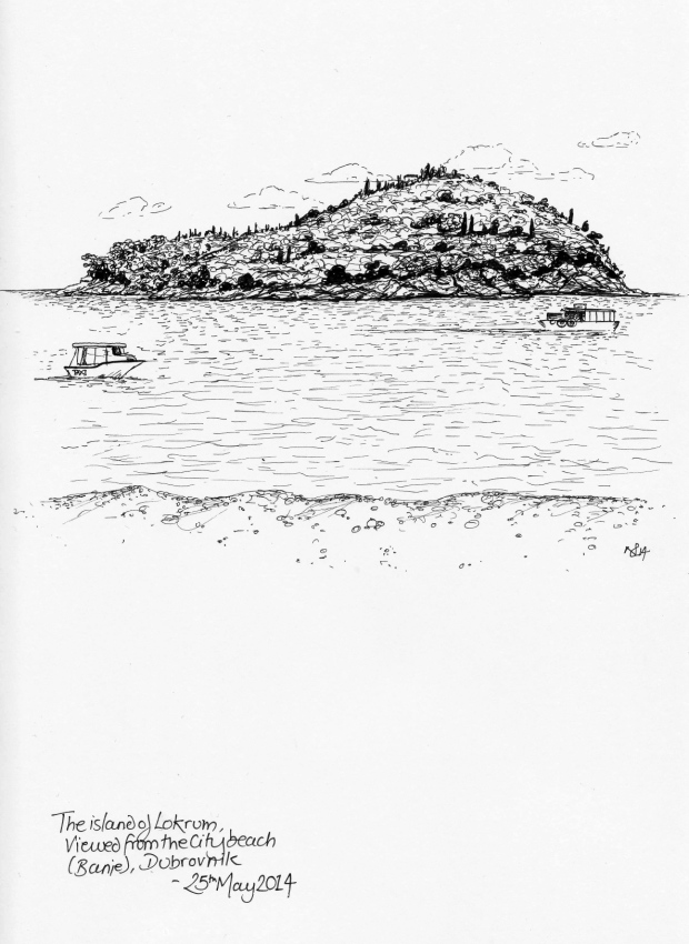 The island of Lokrum (Dubrovnik) viewed from the beach (2014 © Nicholas de Lacy-Brown, pen on paper)