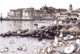 Norms on Dubrovnik Beach (2014 © Nicholas de Lacy-Brown, pen and ink on paper)