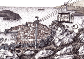 Norms in Dubrovnik take the Cable Car (2014 © Nicholas de Lacy-Brown, pen and ink on paper)