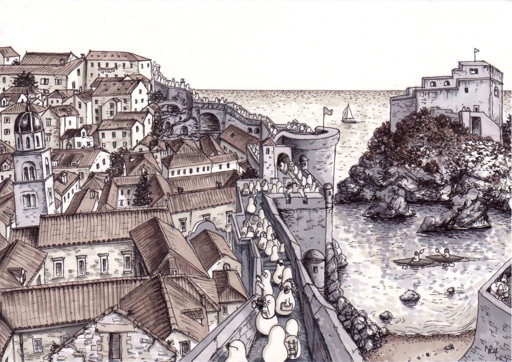 Tourist Norms visit the Walls of Dubrovnik (2014 © Nicholas de Lacy-Brown, pen and ink on paper)