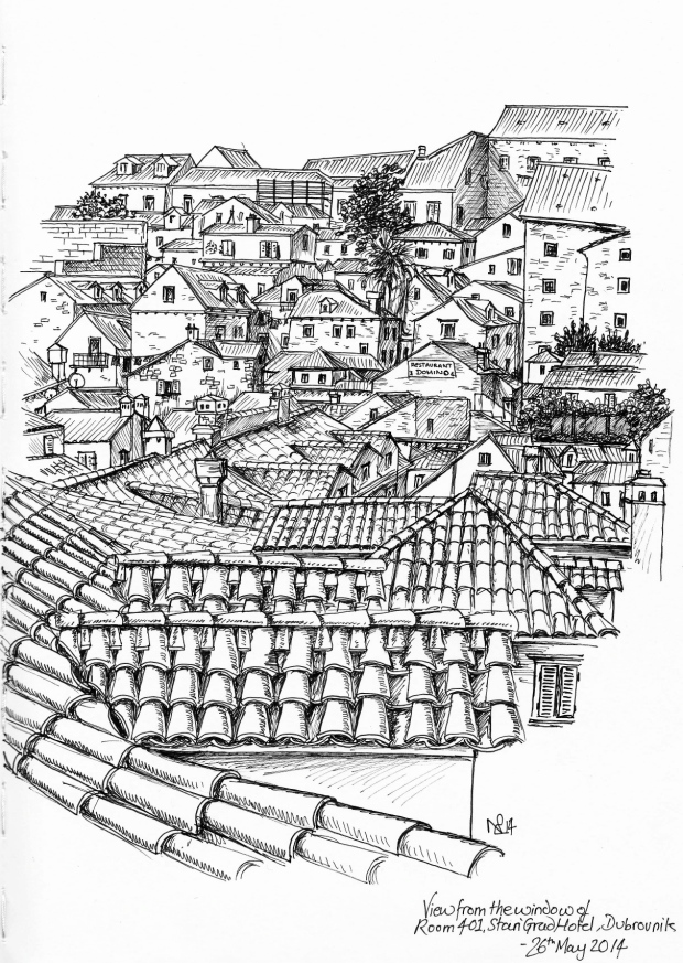 View of Dubrovnik Rooftops from our bedroom at the Stari Grad Hotel (2014 © Nicholas de Lacy-Brown, pen on paper)