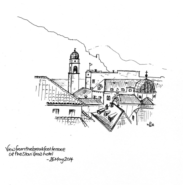 View from the roof terrace at the Stari Grad Hotel, Dubrovnik (at breakfast) (2014 © Nicholas de Lacy-Brown, pen on paper)