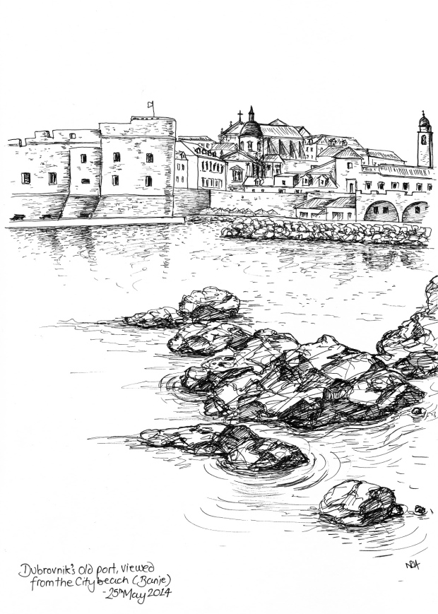 The Old Port at Dubrovnik, viewed from the City's Beach (2014 © Nicholas de Lacy-Brown, pen on paper)
