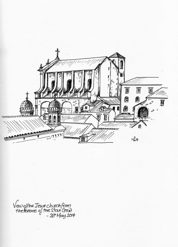 Rooftop view with the Jesuit Church, Dubrovnik (2014 © Nicholas de Lacy-Brown, pen on paper)