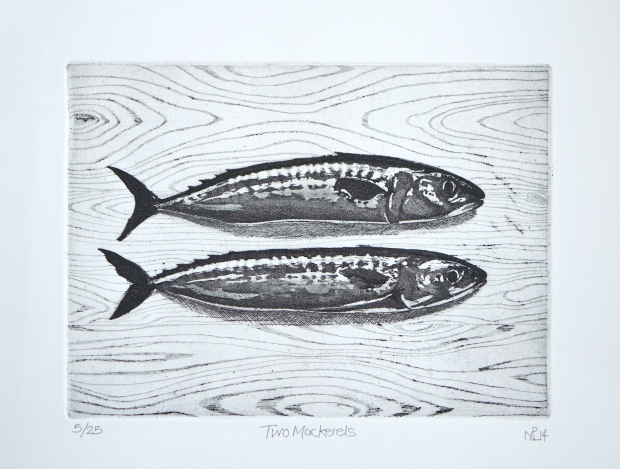 Two Mackerels (2014 © Nicholas de Lacy-Brown, etching and aquatint)