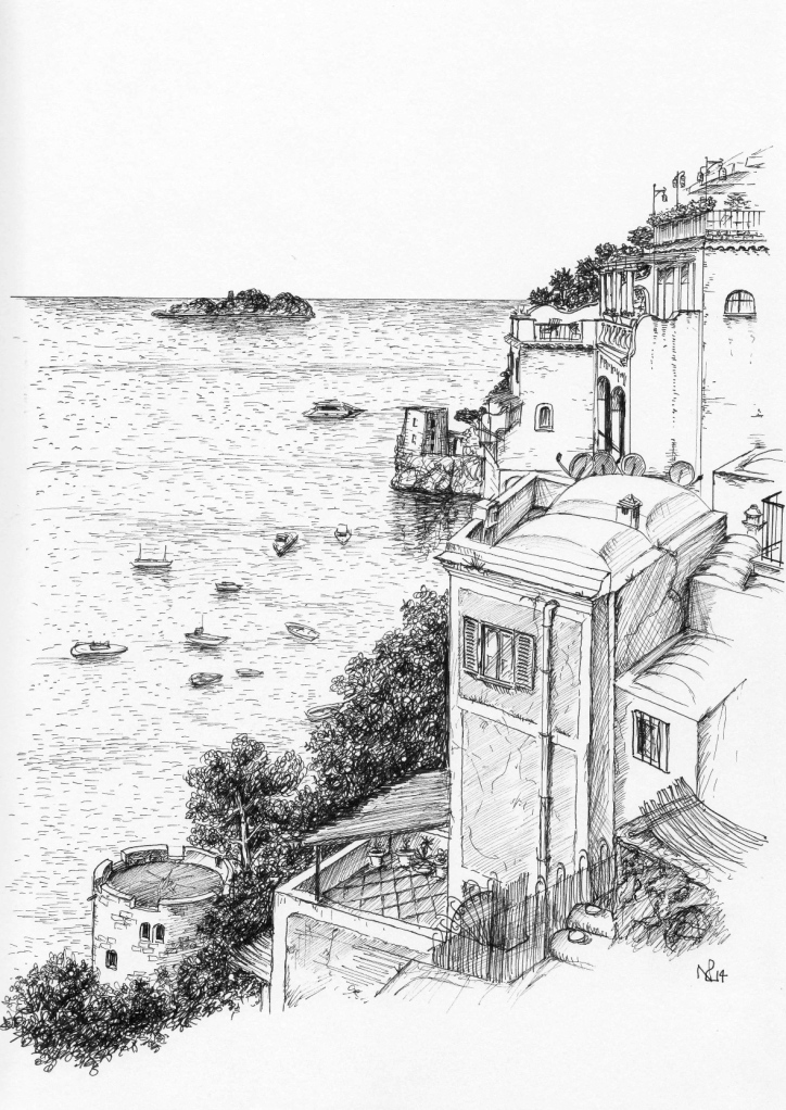 Positano Sketch 1: Balcony View towards the Sirenuse (2014 © Nicholas de Lacy-Brown, pen on paper)