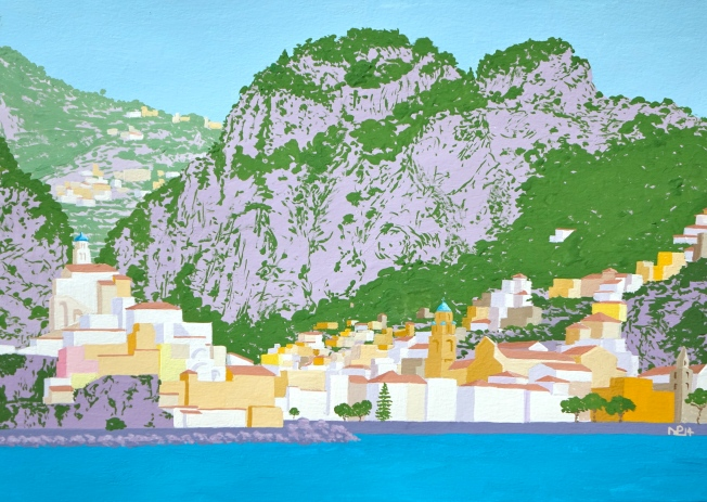 Amalfi (2014 © Nicholas de Lacy-Brown, gouache on paper)