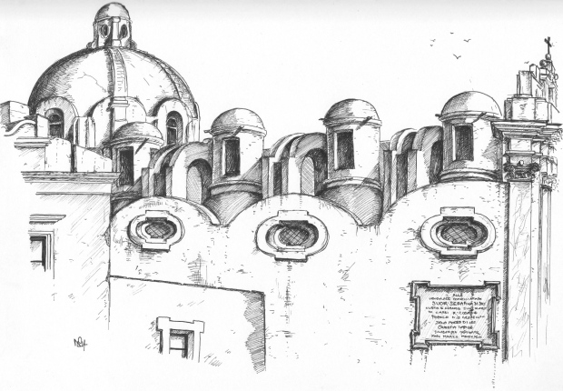 Capri Sketch 1: The church of Santo Stefano (2014 © Nicholas de Lacy-Brown, pen on paper)