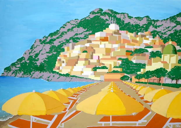 Positano I (viewed from the beach) (2014 © Nicholas de Lacy-Brown, gouache on paper)