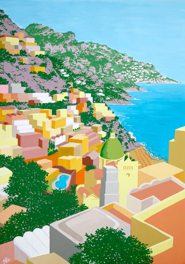 Positano II (2014 © Nicholas de Lacy-Brown, gouache on paper)