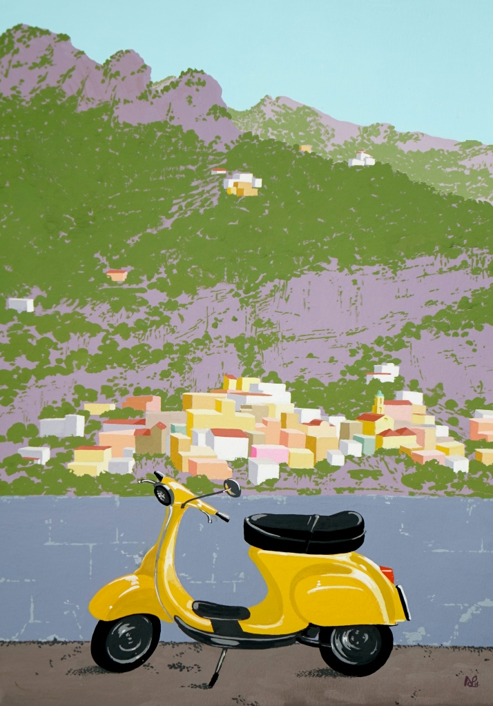Positano IV (Yellow Vespa) (2014 © Nicholas de Lacy-Brown, gouache on paper)