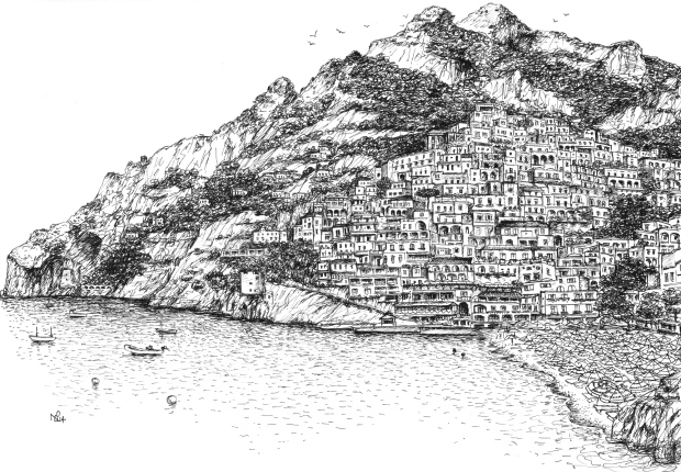 Positano Sketch 2 - View from the beach (2014 © Nicholas de Lacy-Brown, pen on paper)