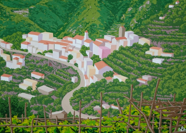 Ravello (2014 © Nicholas de Lacy-Brown, gouache on paper)