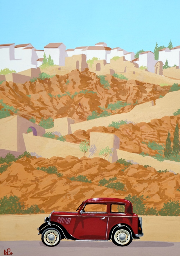 Interpretation No. 10 - Vintage Ronda (2014 © Nicholas de Lacy-Brown, gouache on paper)