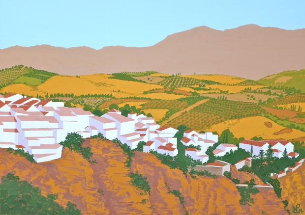 Interpretation No. 8 - Ronda (2014 © Nicholas de Lacy-Brown, gouache on paper)