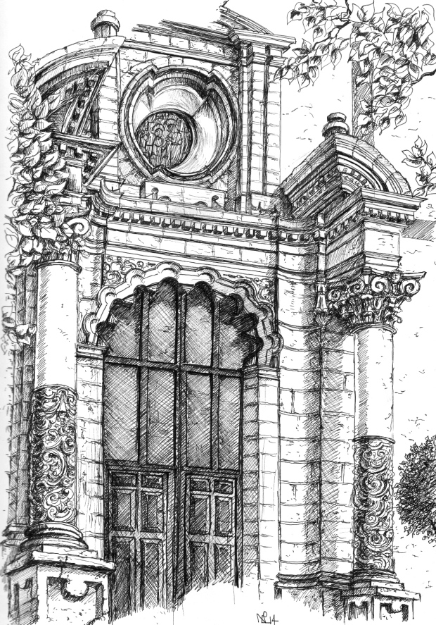 Doorway of Marbella's Iglesia Encarnacion (2014 © Nicholas de Lacy-Brown, pen on paper)
