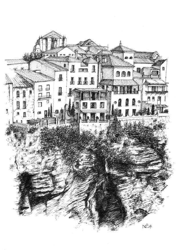 Ronda 1 - Buildings above the Tajo Gorge, Ronda (2014 © Nicholas de Lacy-Brown, pen on paper)