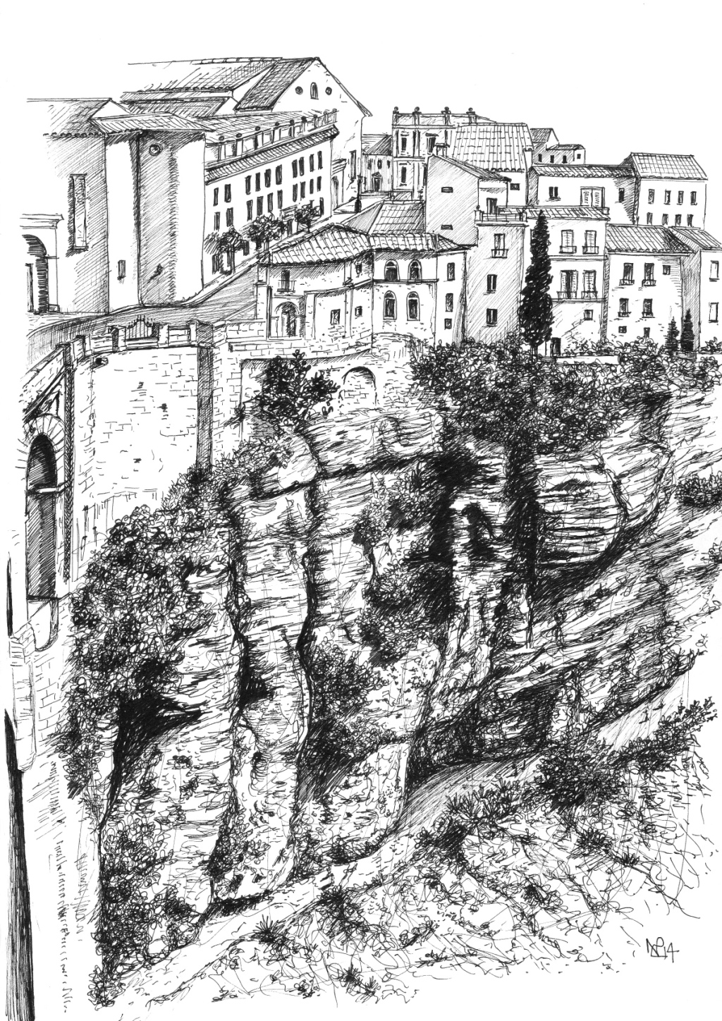 Ronda 2: The Tajo Gorge (2014 © Nicholas de Lacy-Brown, pen on paper)