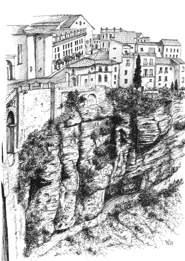 Ronda 2: The Tajo Gorge (2014 © Nicholas de Lacy-Brown, pen on paper)