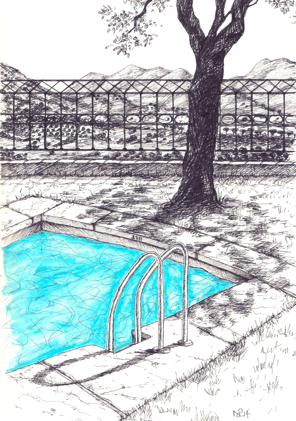 Ronda Sketch 3 - Paradores Pool (2014 © Nicholas de Lacy-Brown, pen and ink on paper)