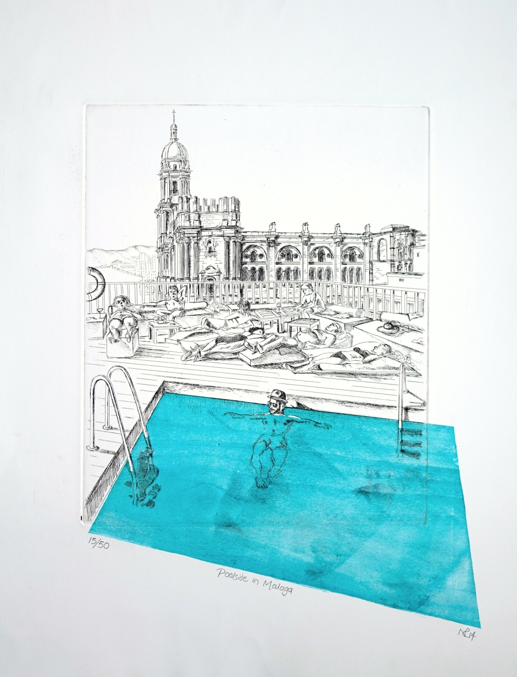 Malaga Poolside (2014 © Nicholas de Lacy-Brown, etching and woodblock on paper)