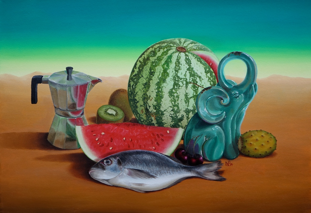 Naturaleza Muerta: Still life with coffee pot, dorada, tropical fruits and a ceramic elephant (2014 © Nicholas de Lacy-Brown, oil on canvas)