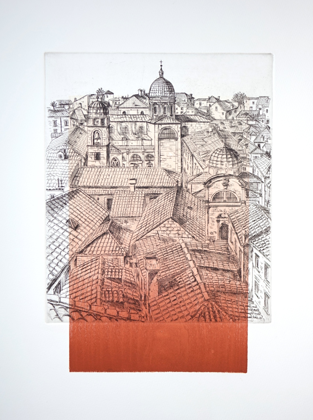 Terracotta Sunrise (2014 © Nicholas de Lacy-Brown, etching and woodblock on paper)