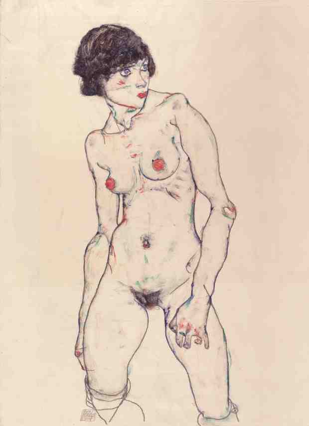 Standing Nude with Stockings, 1914