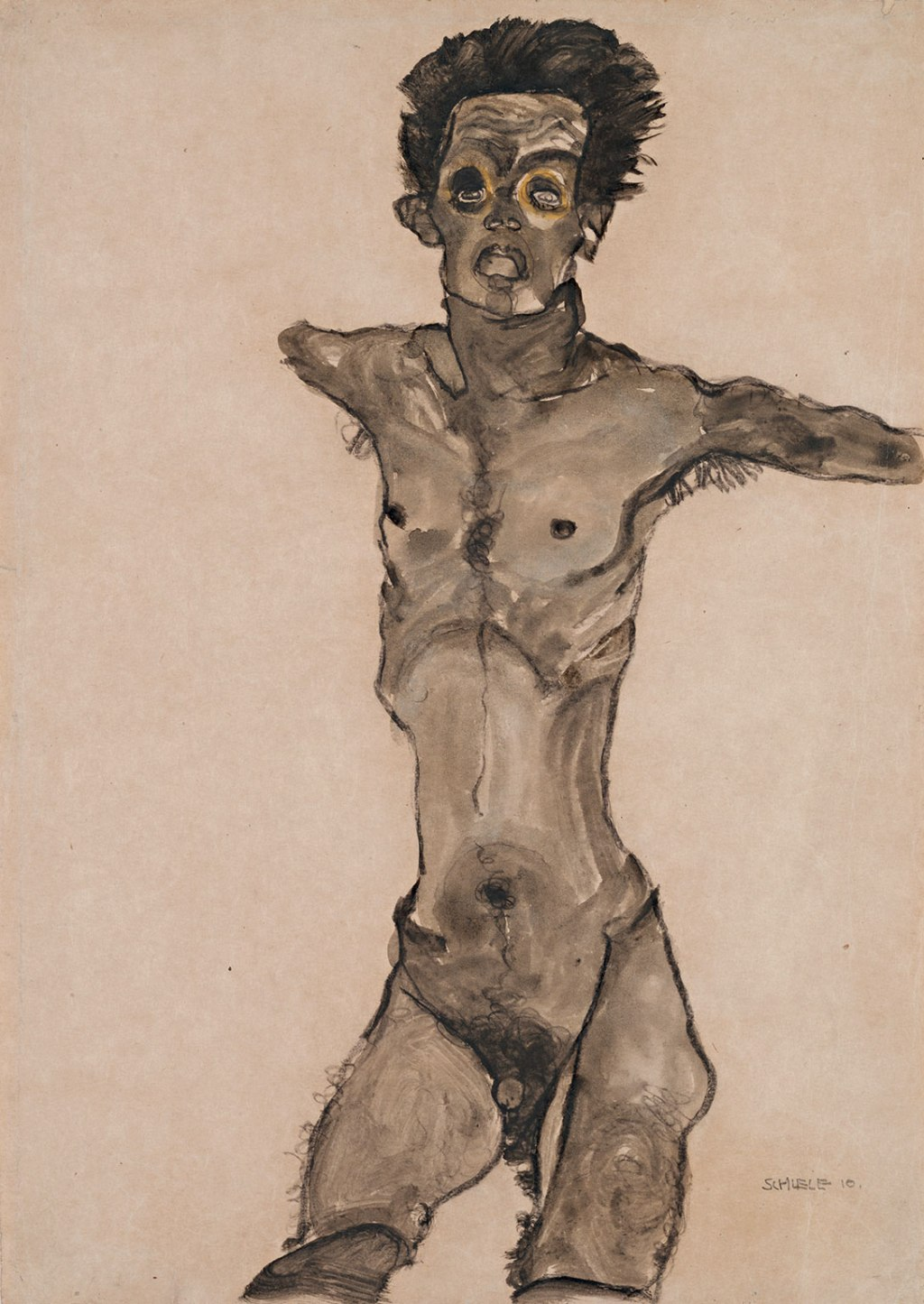 Nude Self-Portrait in Gray with Open Mouth, 1910
