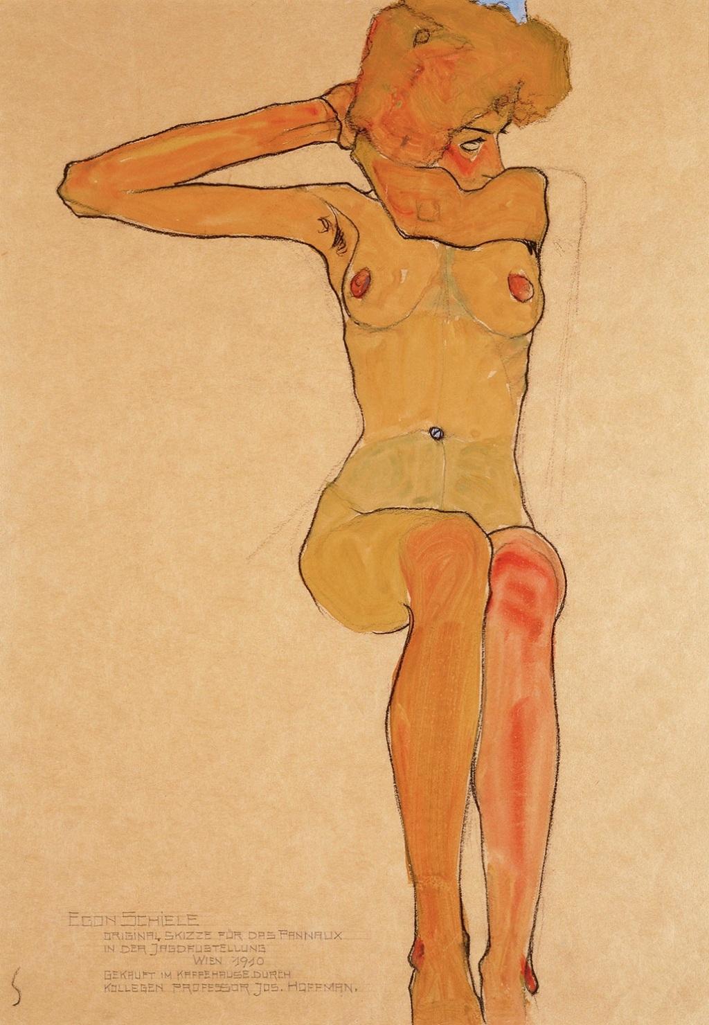 Seated Female Nude with Raised Arm (Gertrude Schiele), 1910