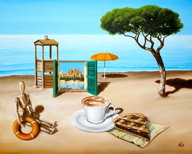 Two Weekends: Thinking about Cappuccino (2014 © Nicholas de Lacy-Brown, oil on canvas)