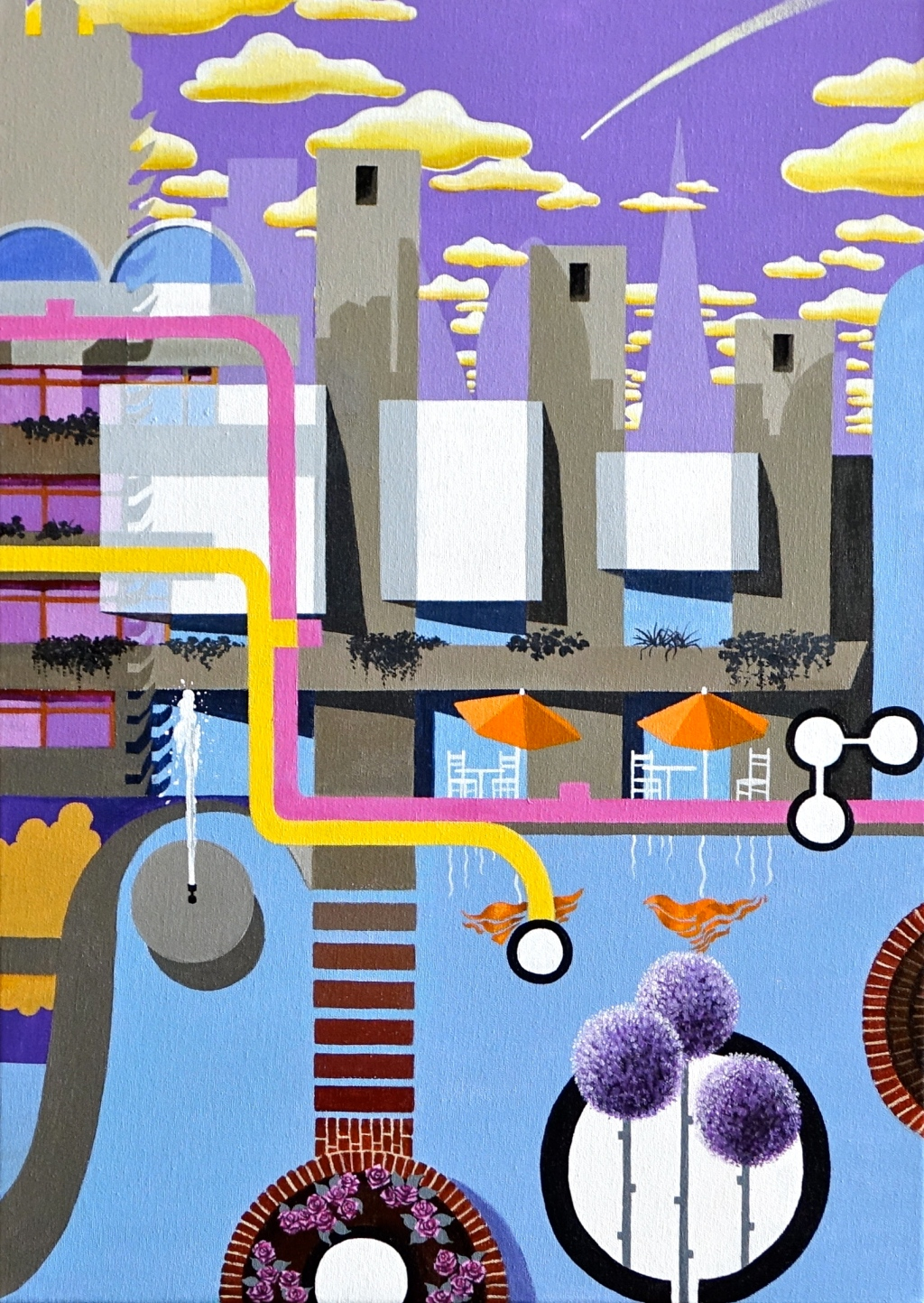 The Barbican Triptych - Canvas 2 (2013-14 © Nicholas de Lacy-Brown, acrylic on canvas)