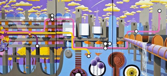 The Barbican Triptych (2013-14 © Nicholas de Lacy-Brown, acrylic on canvas)