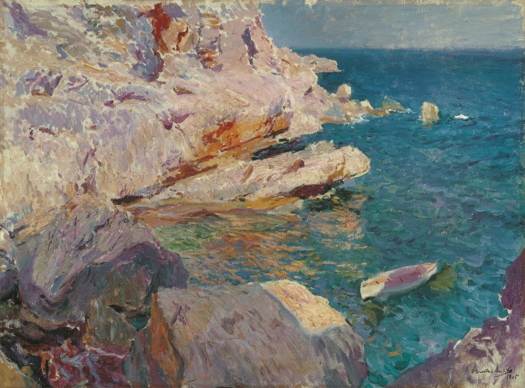 Joaquín Sorolla. Rocas de Jávea y el bote blanco, 1905.  © Colección Carmen Thyssen-Bornemisza en préstamo gratuito al Museo Carmen Thyssen Málaga