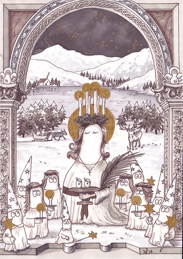 Santa Lucia Norm (2014 © Nicholas de Lacy-Brown, pen and gold paint on paper)