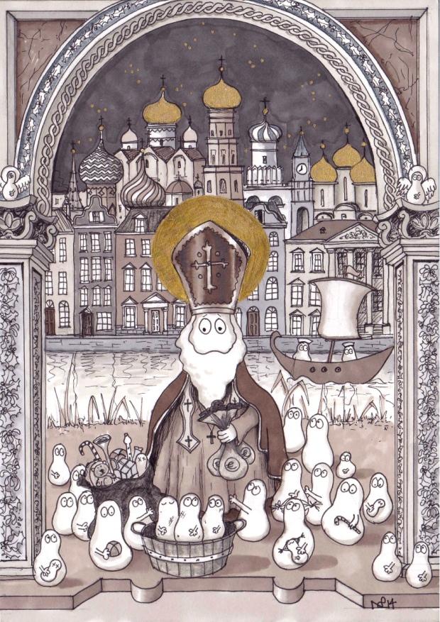 St Nicholas Norm (2014 © Nicholas de Lacy-Brown, pen and gold paint on paper)