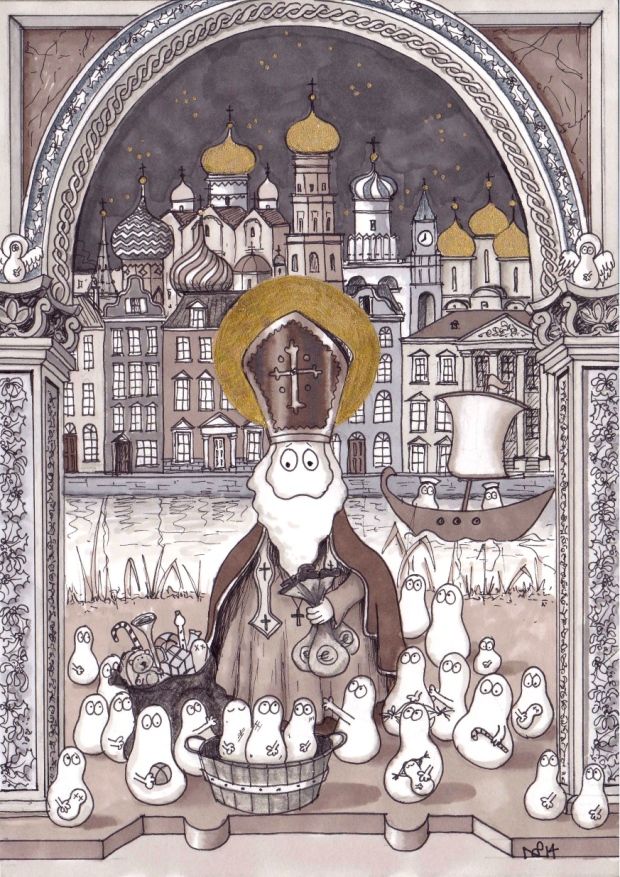 St Nicholas Norm (2014 © Nicholas de Lacy-Brown, pen and gold paint on paper)