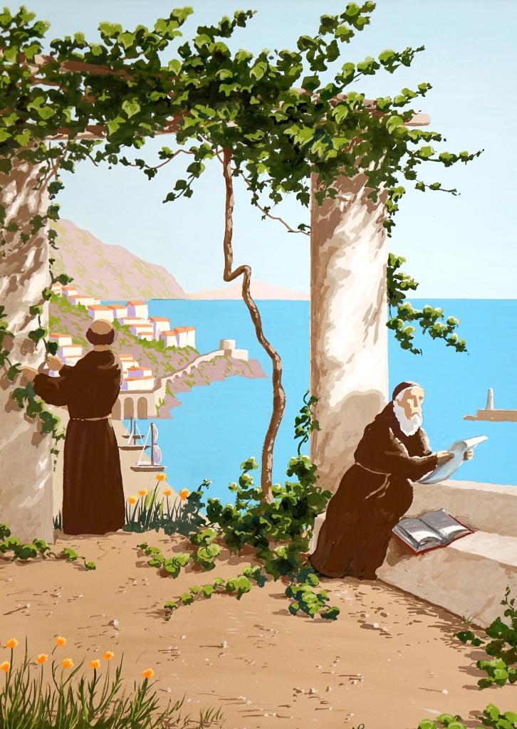 Interpretation No. 12: Capuchin Monks, Amalfi (2014-15 © Nicholas de Lacy-Brown, gouache on paper)