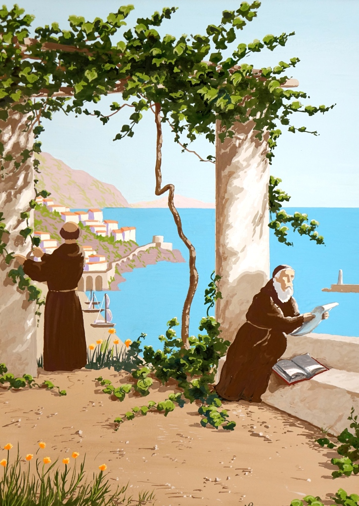 Interpretation No. 12: Capuchin Monks, Amalfi (2014-15 © Nicholas de Lacy-Brown, gouache on paper)