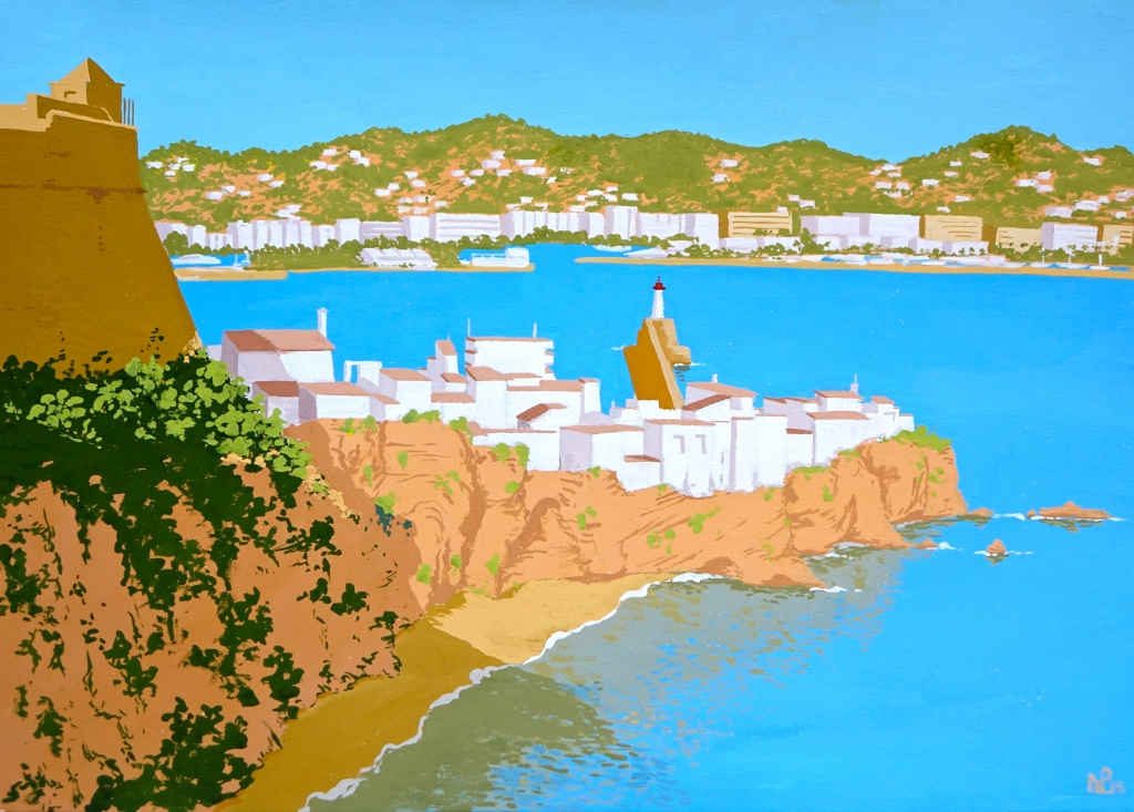 Interpretation No. 13 - Ibiza Town (2015 © Nicholas de Lacy-Brown, gouache on paper)