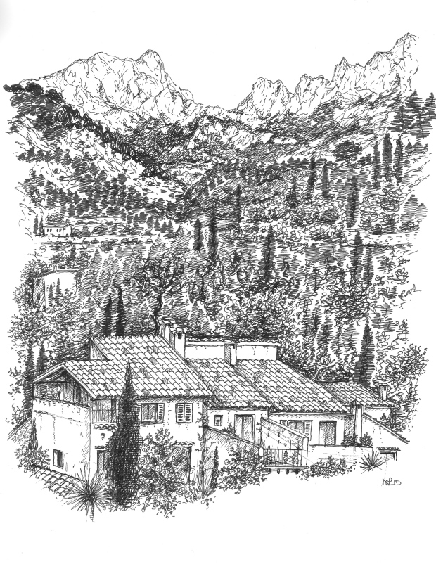 The Tramuntana viewed from Fornalutx (2015 © Nicholas de Lacy-Brown, pen on paper)