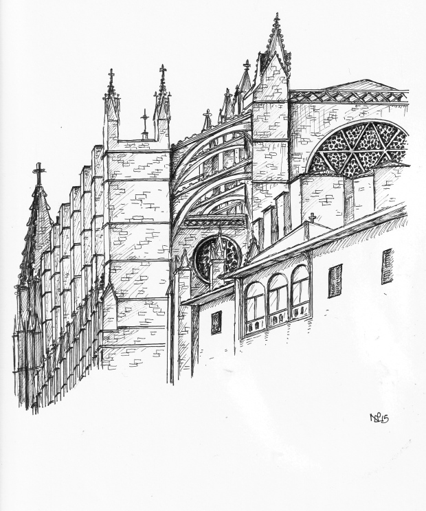 Palma Cathedral from the Parc de la Mar (2015 © Nicholas de Lacy-Brown, pen on paper)